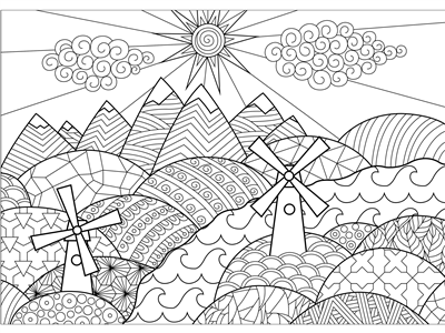 3' x 4' Coloring Mural - Rolling Hills Landscape (Individual)